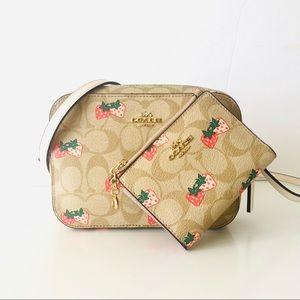 Coach Mini Crossbody Purse Wallet Set Strawberry